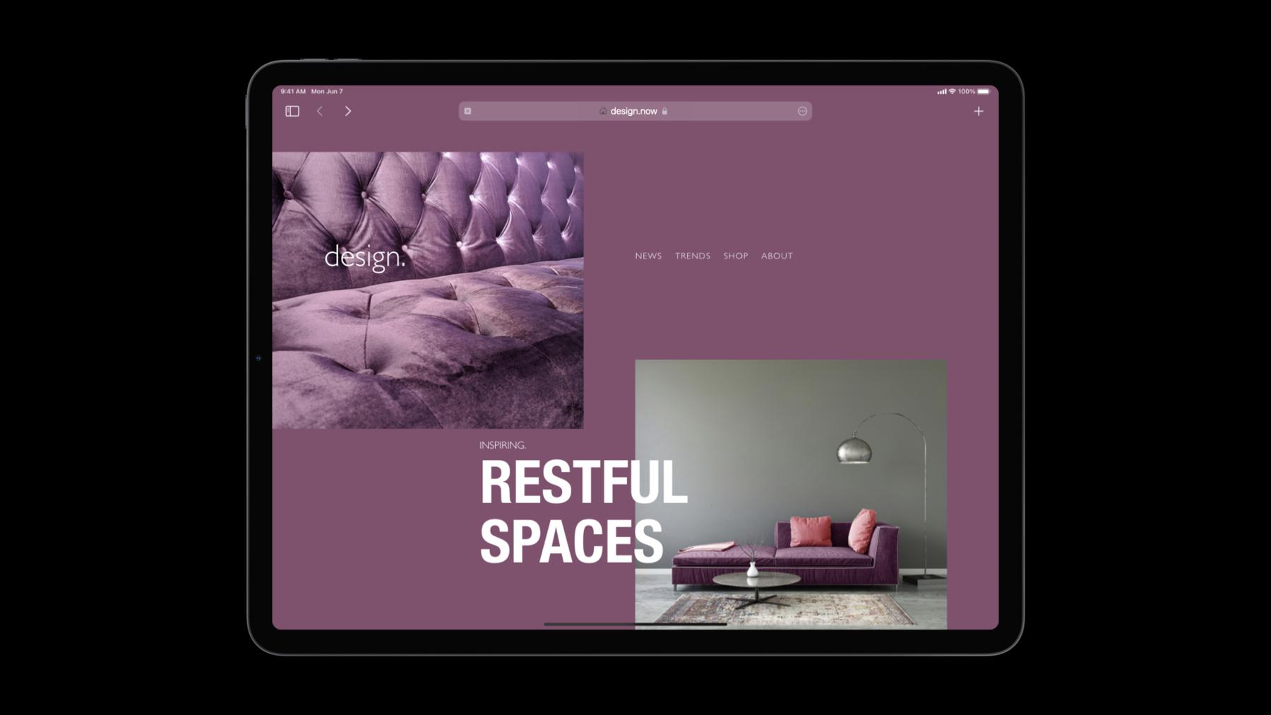 A website demo in thew new Safari 15 on an iPad